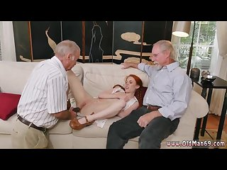 Old guy fucks fat girl and old virgin and old grandpa and young gangbang