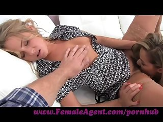 Femaleagent assistant cameraman gets in on the action