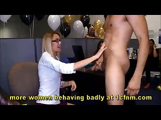 Office birthday party turns into blowjob madness