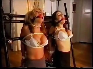 Two hotties get bar hogtied by a mistress