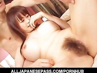 Wild sex for rina wakamiya and two horndogs