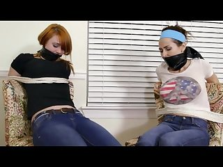 Two girl detectives caught snooping and tied up
