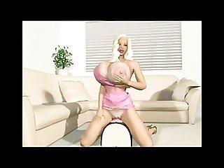 Hot babe rides a dildo