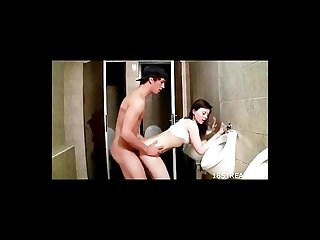 Hot teens fuck in the bathroom