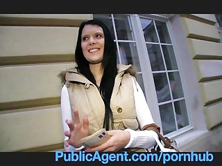 Publicagent rebecca has stunning blue eyes and a tight fit body