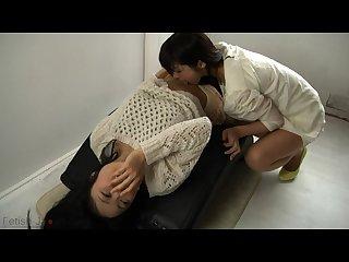 Japanese lesbian navel licking