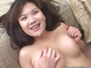 Naughty asian big cock gobble