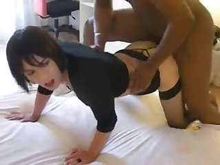 Beautiful tranny getting black cock
