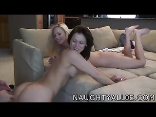 Naughty Allie enjoys foursome with members of her site