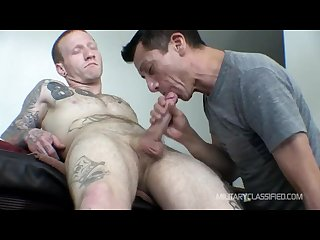 Tatted ex con blowjob