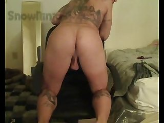 Married tatted white thug webcam cum