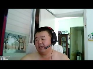 Fat Chinese daddy jerk off with dirty words