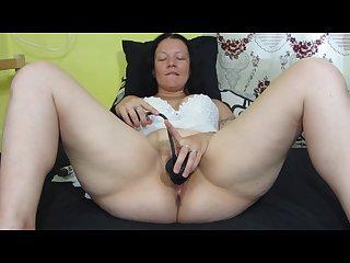 Pump dildo in pussy masturbation