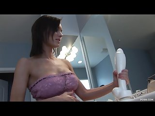 Girl using huge white dildo