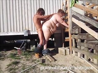 Wife blow and fuck yard worker to pay her mowing bill with a pussy creampie