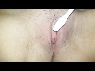 Toothbrush masturbation watch wet hairy pussy in close up