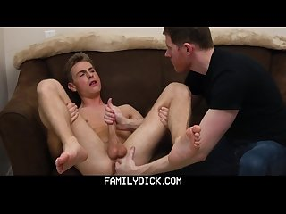 Familydick sexy Uncle fingers and strokes his young nephew