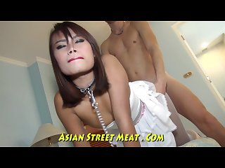 Chained slave with thai pierced titties