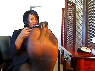 Joi ebony pantyhose tease again