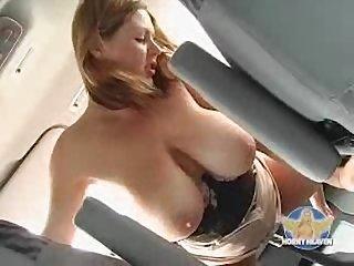 Milf rides car gearstick
