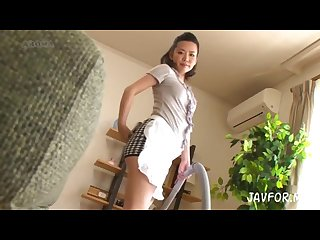 Japanese maid milf wears miniskirt while cleaning shame upskirt panty shot