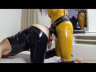Mistress angelina fucks her slave with strapon and sucks his cock