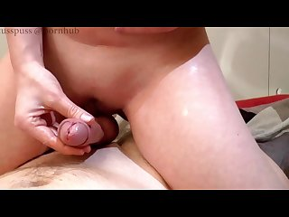 Teasing handjob with creampie