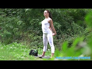 Publicagent brunette babe gets fucked outdoors in her yoga pants