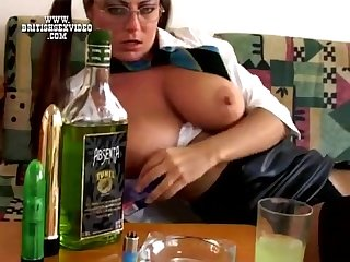 Big tits smoking solo
