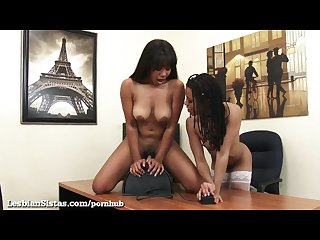 Black girls ride a sybian at the office