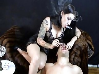 Cybil troy using the ashtray