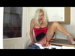 Bored blonde housewife slut lets repair boy hunk lick and spunk up her cunt