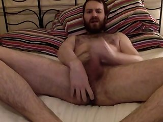 Hairy young cub jerking playing with his ass and cumming