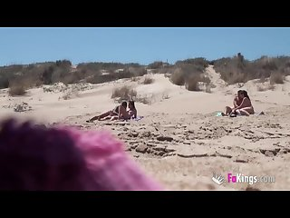 Beach Dogging ainara fucks a voyeur and a couple join the fun