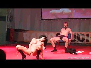 Slut simulating sex on the stage