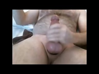 Thick hung bear plays with toy and cums