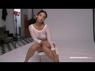 Indian diva shanaya adorable beauty in white fishnet nude photo session