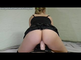 Femdom Facesitting and chastity teasing with strapon