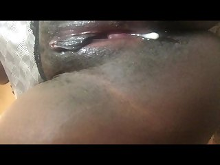 Watching cum leak from tight ebony pussy