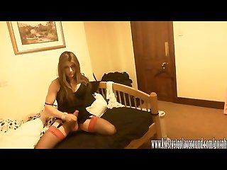 Dirty crossdresser kirsty masturbates her big cock and eats her cum
