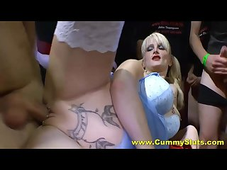 Bukkake bonanza for tattooed blonde cumslut