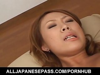 Kasumi yamane has cunt fucked with vibrator and gets cum on mouth