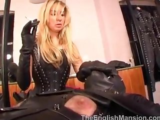 Mistress anna regent smoking in leather