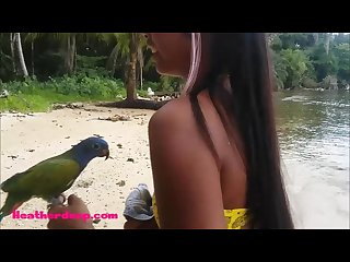 Ameteur tiny thai teen heather deep day at the beach gives deepthroat