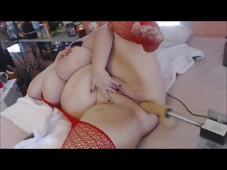 Bbw wrecks ass with fuck machine