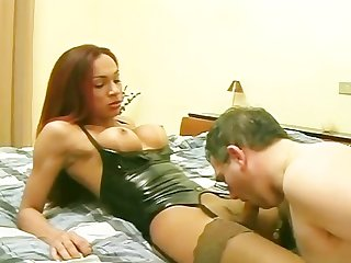 Hot shemale has some fun with older man