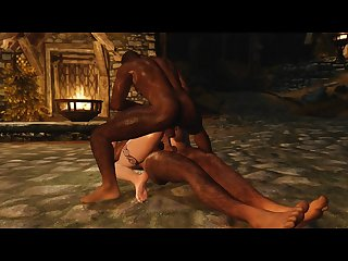Sexy skyrim nord redhead 3some fun