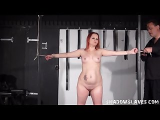 Redhead amateur slaves whipping and tied dungeon breast spanking of english