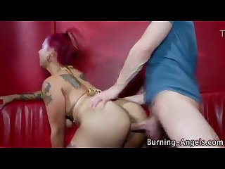Emo whore gets her ass fucked