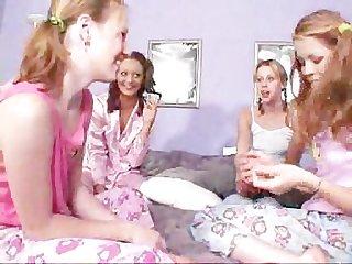 Teen lesbian pyjama party part 1